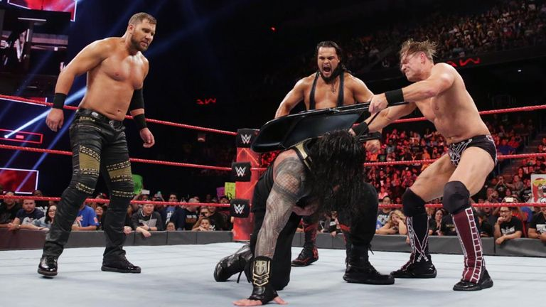 Curtis Axel, Bo Dallas and The Miz all attacked Roman Reigns with steel chairs before mocking The Shield.