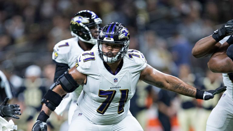NEW ORLEANS, LA - AUGUST 31:  Jermaine Eluemunor #71 of the Baltimore Ravens drops back to pass block during a preseason game against the New Orleans Saint