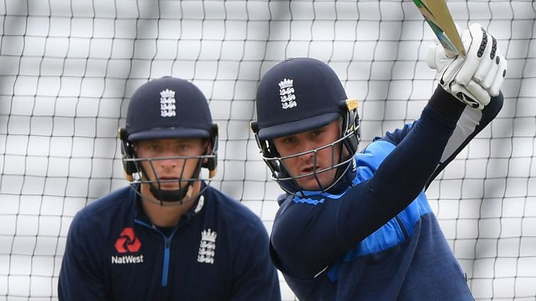 Jason Roy (right) practices in the England nets, watched by Jos Buttler