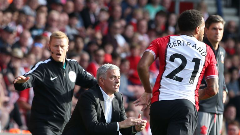 during the Premier League match between Southampton and Manchester United at St Mary's Stadium on September 23, 2017 in Southampton, England.