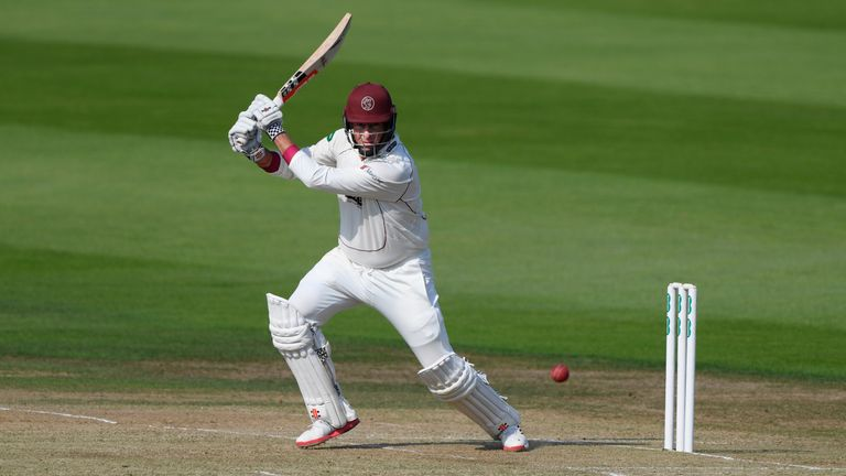 LEEDS, ENGLAND - SEPTEMBER 13:  Somerset batsman Marcus Trescothick cover drives during day two of the Division One Specsavers County Championship match be