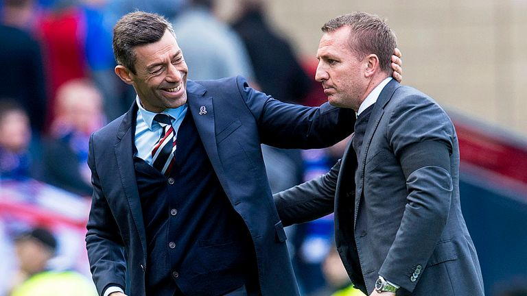Rangers manager Pedro Caixinha with Celtic manager Brendan Rodgers