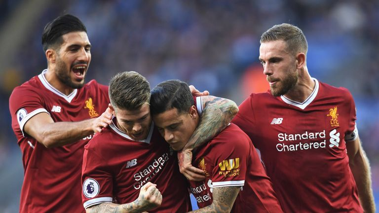 Philippe Coutinho is mobbed by his Liverpool team-mates