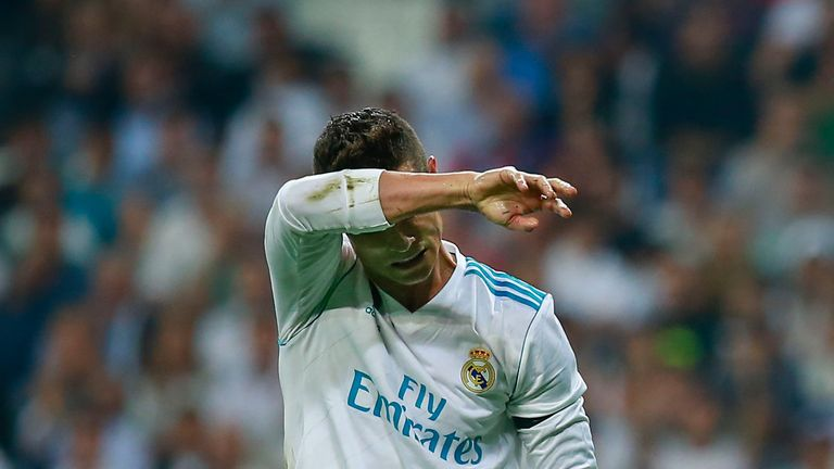 MADRID, SPAIN - SEPTEMBER 20:  Cristiano Ronaldo of Real Madrid CF reacts as he fail to score during the La Liga match between Real Madrid CF and Real Beti