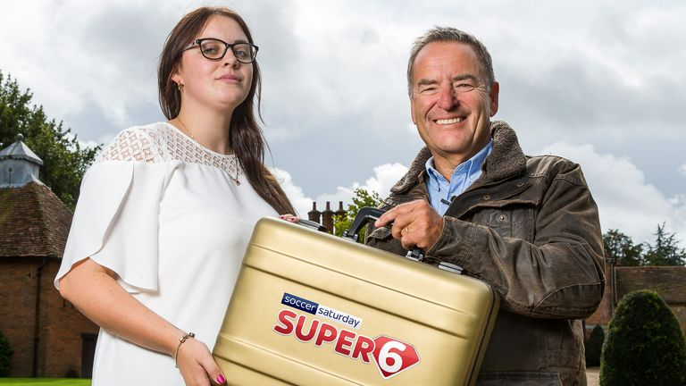 Super 6 millionaire Grace Berry receives her £1million prize from Sky Sports' Jeff Stelling