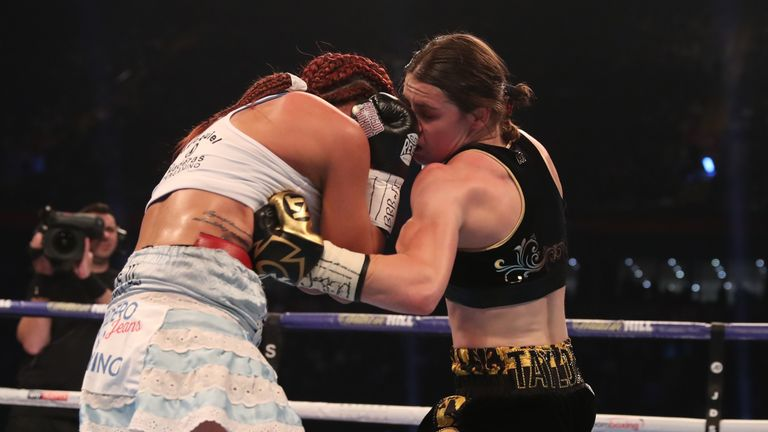 Katie Taylor lands a precise left hook to the body