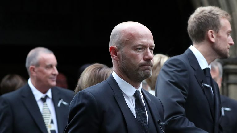 Newcastle great Alan Shearer delivered a eulogy at the funeral