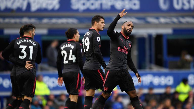 Alexandre Lacazette celebrates Arsenal's fourth
