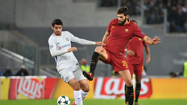 Alvaro Morata challenges Federico Fazio in the first half