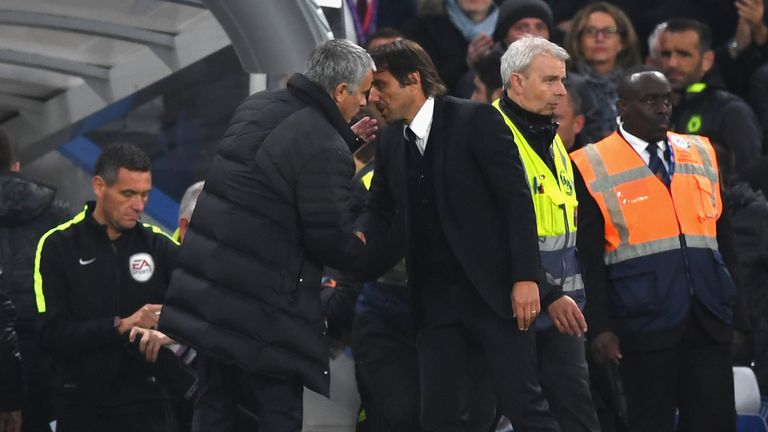 Mourinho was unimpressed by Conte's celebrations in Chelsea's 4-0 win over Man Utd