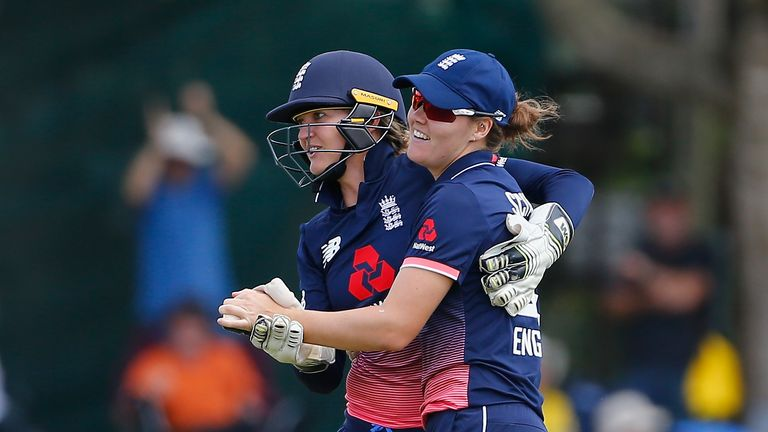 Sarah Taylor and Sciver celebrate a wicket during the Women's Ashes ODIs