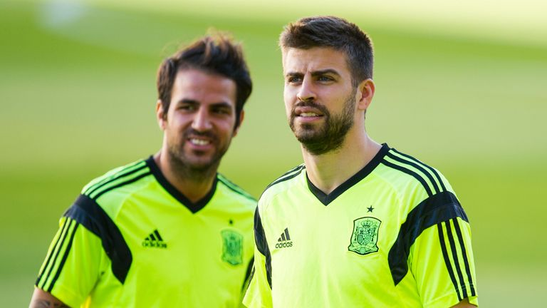 Cesc Fabregas (L) and Gerard Pique are among a number of Spanish players born within the autonomous region of Catalonia