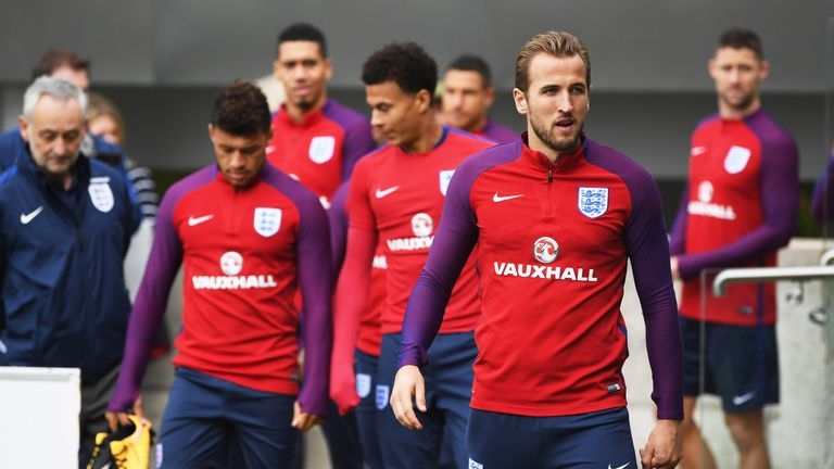 Harry Kane will captain a side that includes Marcus Rashford and Raheem Sterling