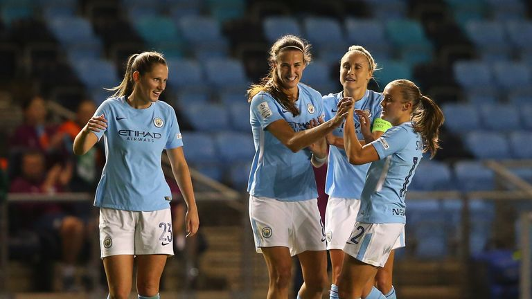Jill Scott celebrates her goal with Man City team-mates