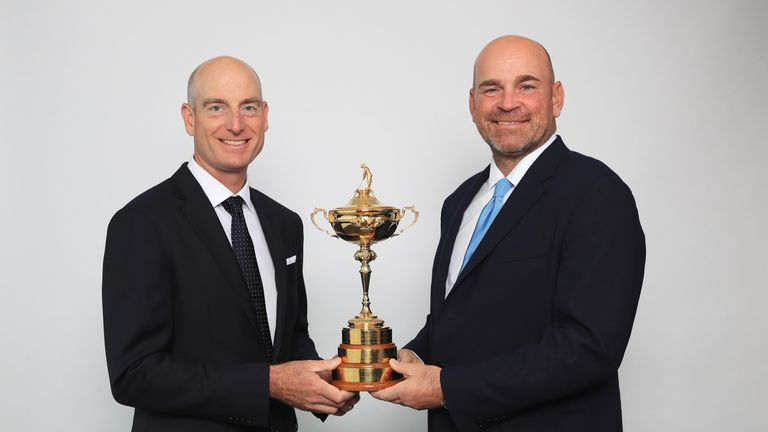 Ryder Cup: Thomas Bjorn and Jim Furyk hit shots from Eiffel Tower