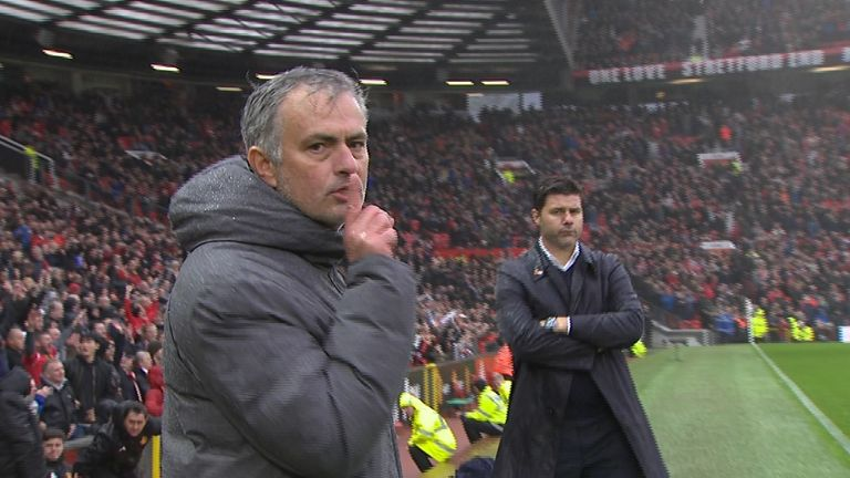 Mourinho shushed the camera after his side beat Tottenham at Old Trafford