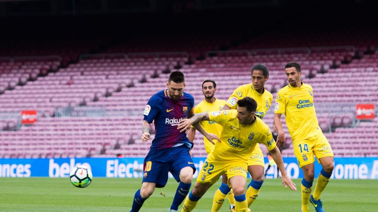 Lionel Messi takes on Las Palmas defenders inside an empty Nou Camp