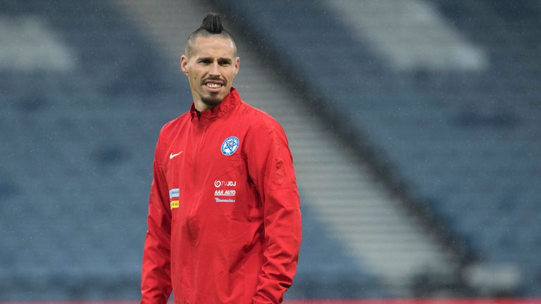 Slovakia's Marek Hamsik gets acquainted with Hampden Park on Wednesday night