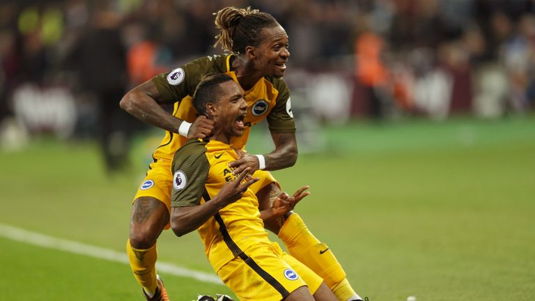 Brighton's Jose Izquierdo (front) is congratulated by team-mate Gaetan Bong after netting the second goal