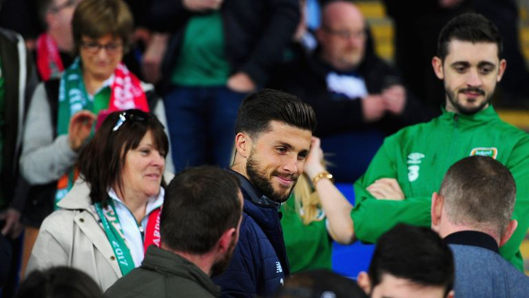 Shane Long of the Republic of Ireland looks on during the FIFA 2018 World Cup Group D  Qualifier between Wales and R
