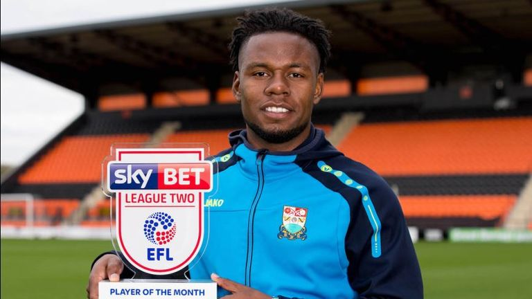 Shaquile Coulthirst won the Sky Bet League Two Player of the Month award for September
