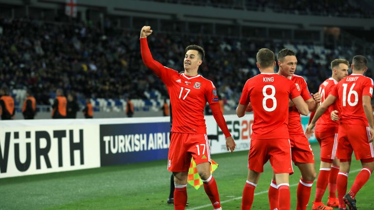 Wales' Tom Lawrence celebrates scoring his first international goal