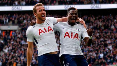 Harry Kane (left) celebrates with Tottenham Hotspur's Serge Aurier