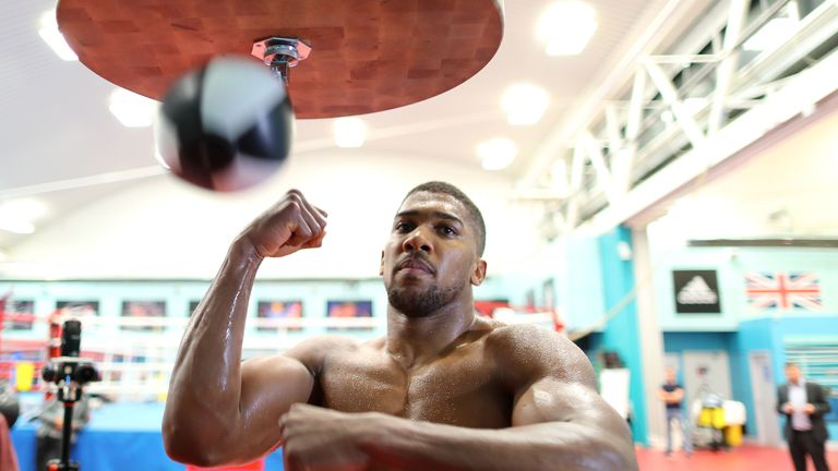 SHEFFIELD, ENGLAND - OCTOBER 17: Anthony Joshua during a media workout at the English Institute of Sport on October 17, 2017 in Sheffield, England. (Photo