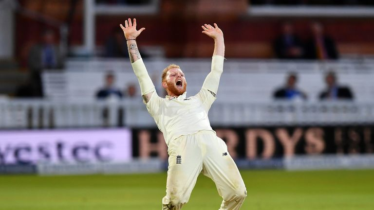 LONDON, ENGLAND - SEPTEMBER 08:  Ben Stokes of England appeals unsuccessfully for the wicket of Shai Hope of the West Indies during day two of the 3rd Inve