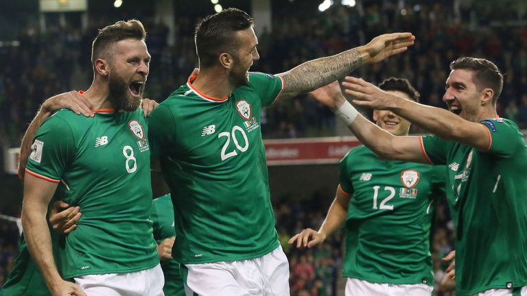 Republic of Ireland's Daryl Murphy celebrates scoring his side's first goal of the game with Shane Duffy during the World Cup Qualifier v Moldova