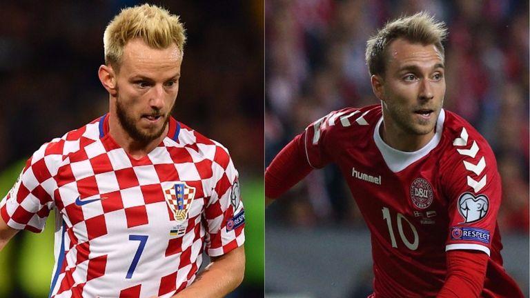 Ivan Rakitic of Croatia and Christian Eriksen of Denmark (both from Getty)
