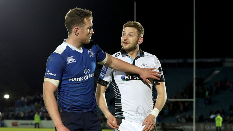 Finn Russell and Rory O'Loughlin following Leinster Rugby hosting Glasgow Warriors in the Guinness PRO14