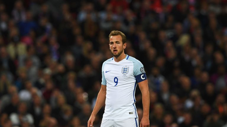 LONDON, ENGLAND - OCTOBER 05:  Captain Harry Kane of England looks on during the FIFA 2018 World Cup  Group F Qualifier between England and Slovenia