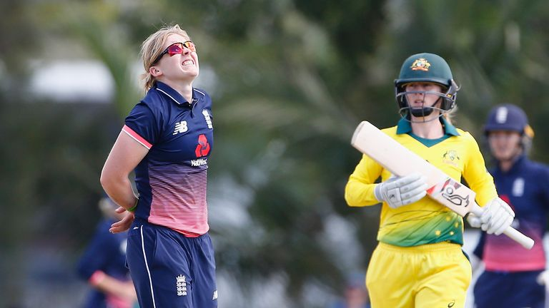 BRISBANE, AUSTRALIA - OCTOBER 22:  England's Heather Knight reacts  during the Women's One Day International between Australia and England at Allan Border