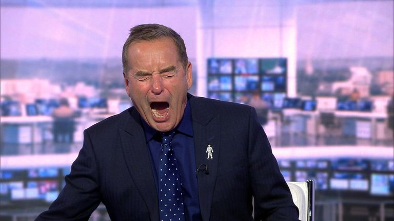 Jeff Stelling reacts to Hartlepool conceding a late goal to Sutton.