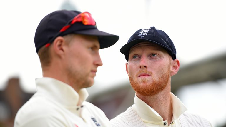 LONDON, ENGLAND - JULY 31:  Ben Stokes and Joe Root of England look on during the after match presentations during the 3rd Investec Test between England an