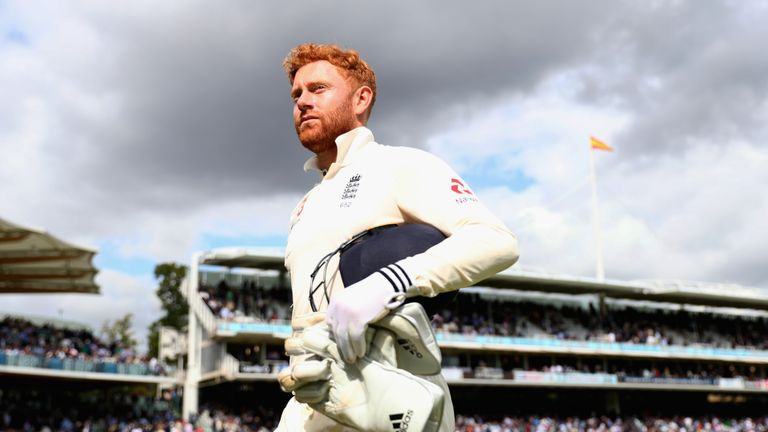Jonny Bairstow leaves the pitch during England v West Indies - 3rd Investec Test: Day Three at Lord's Cricket Ground on Sep