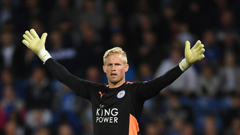 LEICESTER, ENGLAND - SEPTEMBER 23:  Kasper Schmeichel of Leicester City looks on during the Premier League match between Leicester City and Liverpool at Th
