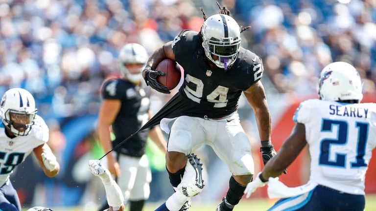 NASHVILLE, TN- SEPTEMBER 10: Running back Marshawn Lynch  #24 of the Oakland Raiders runs the ball against the Tennessee Titans in the second half at Nissa