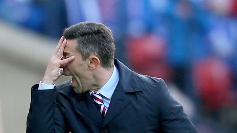 Pedro Caixinha reacts on the touchline at Hampden on Sunday