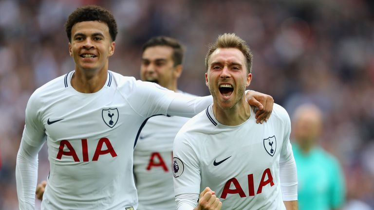 Christian Eriksen celebrates with Dele Alli after scoring for Tottenham against Bournemouth