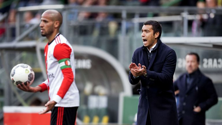 Feyenoord's Karim El Ahmadi (L) scored a late leveller as they drew 2-2 with ADO Den Haag