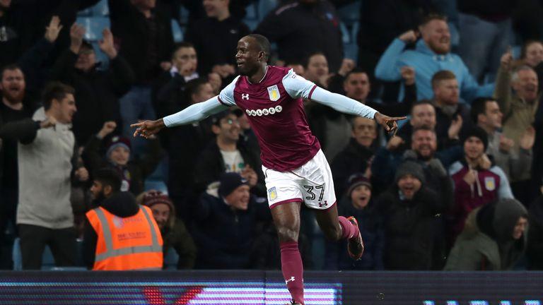 Albert Adomah celebrates scoring Aston Villa's opening goal