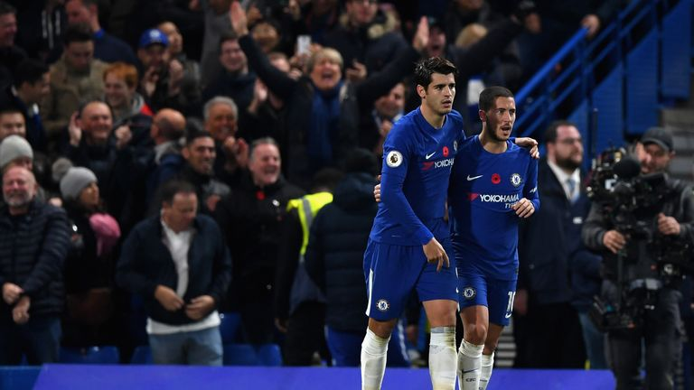 Eden Hazard (right) retained his place in the Power Rankings top 10 after a 1-0 win over Manchester United