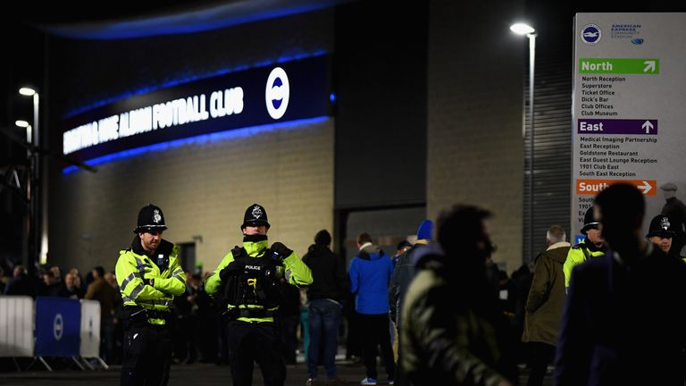Police outside the Premier League match between Brighton and Hove Albion and Crystal Palace at Amex Stadium