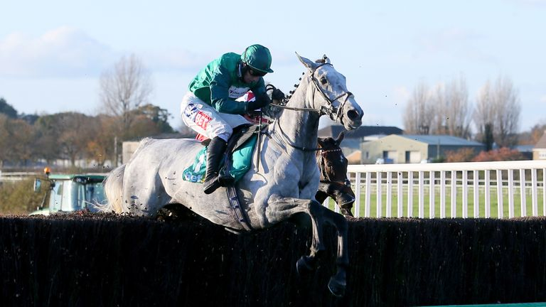 Bristol De Mai, ridden by Daryl Jacob, on his way to winning the bet365 Charlie Hall Chase