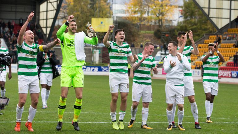 Celtic celebrate breaking the record for the longest unbeaten run in domestic competition by a British top-flight team