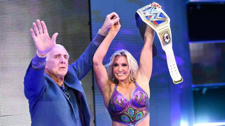Charlotte Flair was joined by her father, Hall of Famer Ric, for her post-match celebration