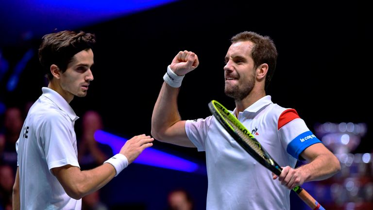 France doubles pairing Richard Gasquet (right) and Pierre-Hugues Herbert gave their country a 2-1 lead