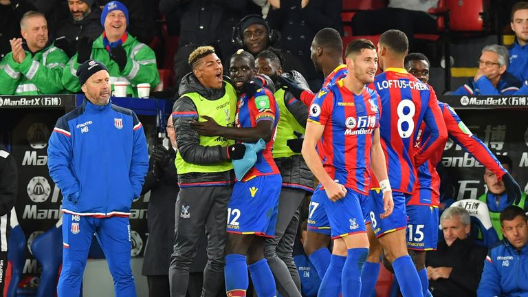Mamadou Sakho (C) celebrates with Crystal Palace team-mates after scoring their late winning goal against Stoke